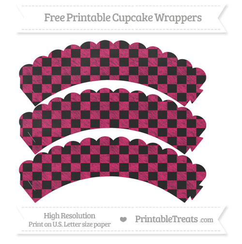 Free Ruby Pink Checker Pattern Chalk Style Scalloped Cupcake Wrappers