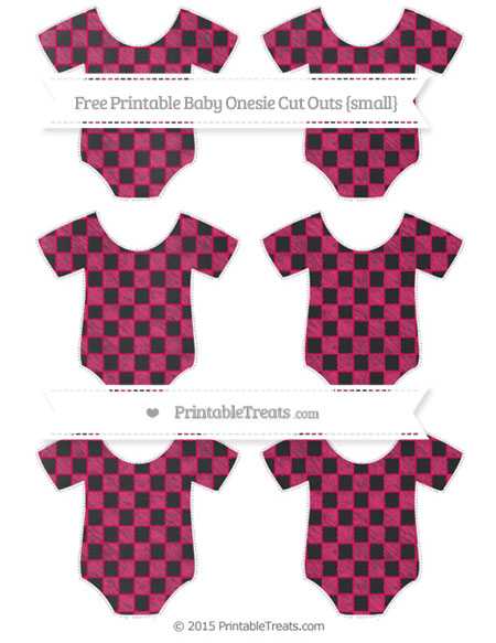 Free Ruby Pink Checker Pattern Chalk Style Small Baby Onesie Cut Outs