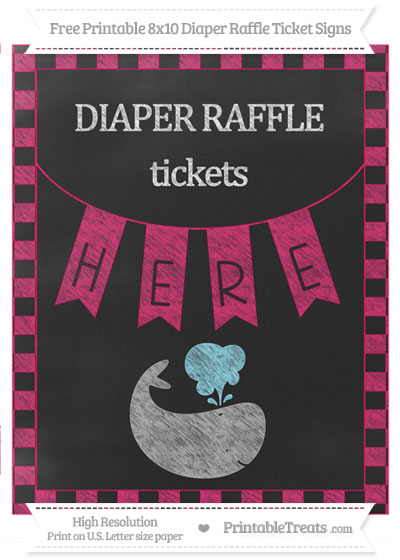 Free Ruby Pink Checker Pattern Chalk Style Whale 8x10 Diaper Raffle Ticket Sign