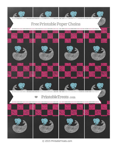 Free Ruby Pink Checker Pattern Chalk Style Whale Paper Chains
