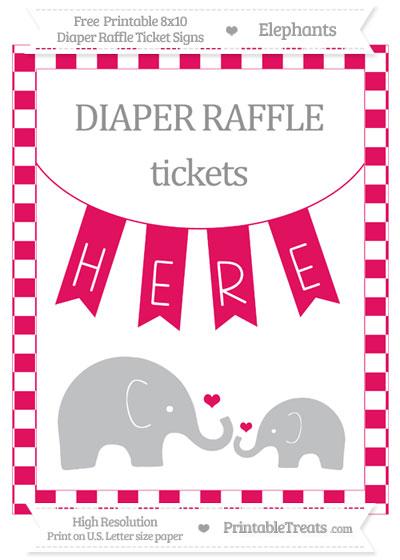 Free Ruby Pink Checker Pattern Elephant 8x10 Diaper Raffle Ticket Sign
