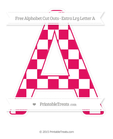 Free Ruby Pink Checker Pattern Extra Large Capital Letter A Cut Outs