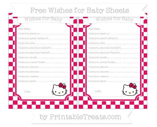 Free Ruby Pink Checker Pattern Hello Kitty Wishes for Baby Sheets
