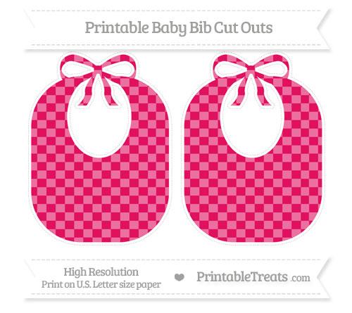 Free Ruby Pink Checker Pattern Large Baby Bib Cut Outs