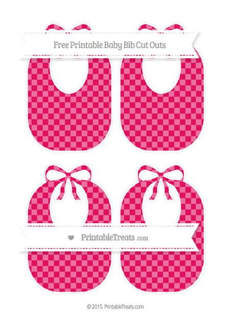 Free Ruby Pink Checker Pattern Medium Baby Bib Cut Outs