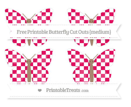 Free Ruby Pink Checker Pattern Medium Butterfly Cut Outs