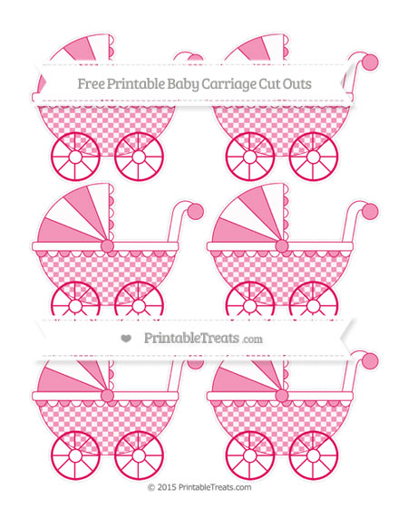 Free Ruby Pink Checker Pattern Small Baby Carriage Cut Outs