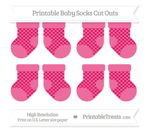 Free Ruby Pink Checker Pattern Small Baby Socks Cut Outs