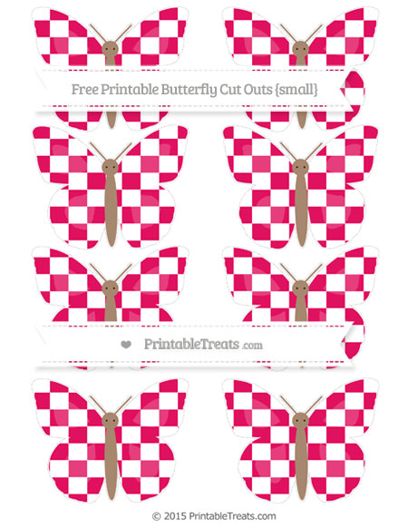 Free Ruby Pink Checker Pattern Small Butterfly Cut Outs