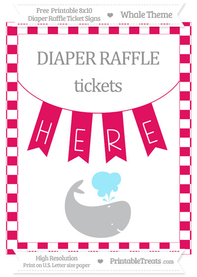 Free Ruby Pink Checker Pattern Whale 8x10 Diaper Raffle Ticket Sign