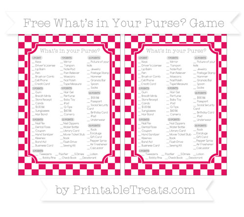 Free Ruby Pink Checker Pattern What's in Your Purse Baby Shower Game