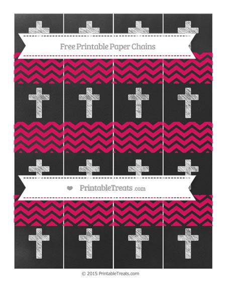 Free Ruby Pink Chevron Chalk Style Cross Paper Chains