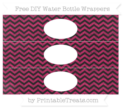 Free Ruby Pink Chevron Chalk Style DIY Water Bottle Wrappers