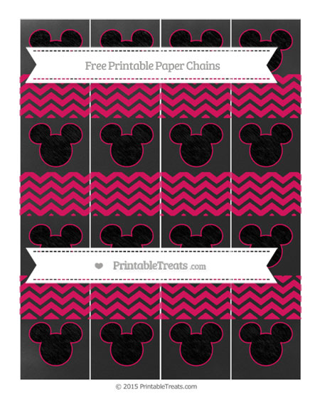 Free Ruby Pink Chevron Chalk Style Mickey Mouse Paper Chains