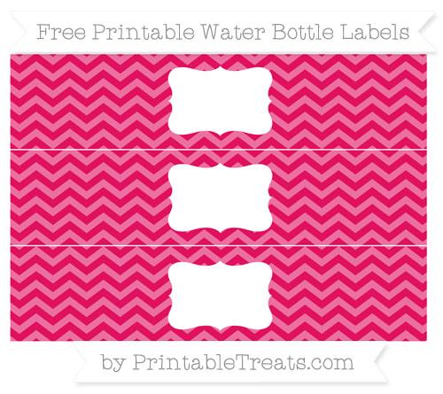 Free Ruby Pink Chevron Water Bottle Labels