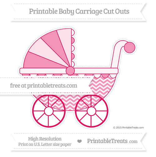 Free Ruby Pink Chevron Extra Large Baby Carriage Cut Outs