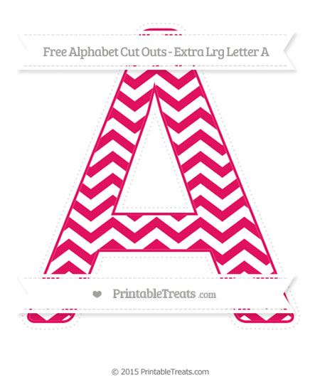 Free Ruby Pink Chevron Extra Large Capital Letter A Cut Outs
