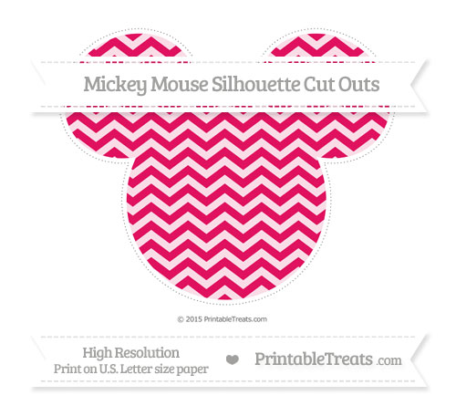 Free Ruby Pink Chevron Extra Large Mickey Mouse Silhouette Cut Outs
