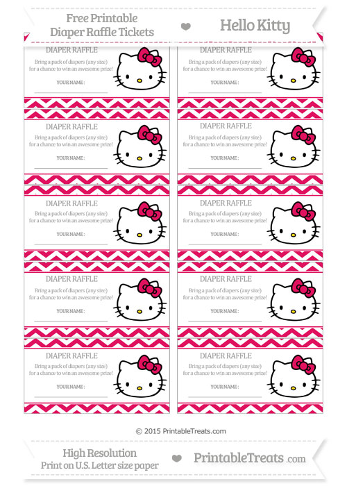 Free Ruby Pink Chevron Hello Kitty Diaper Raffle Tickets