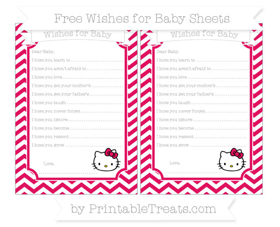 Free Ruby Pink Chevron Hello Kitty Wishes for Baby Sheets