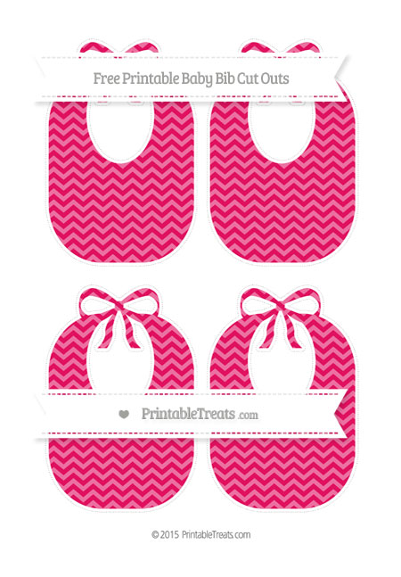 Free Ruby Pink Chevron Medium Baby Bib Cut Outs