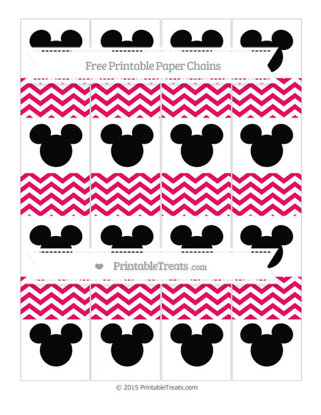 Free Ruby Pink Chevron Mickey Mouse Paper Chains