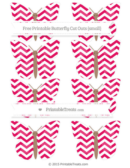 Free Ruby Pink Chevron Small Butterfly Cut Outs