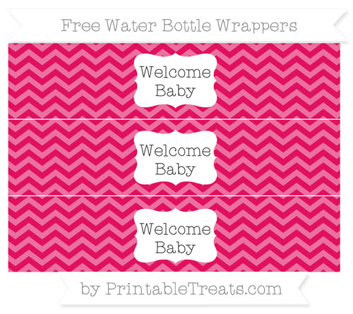 Free Ruby Pink Chevron Welcome Baby Water Bottle Wrappers