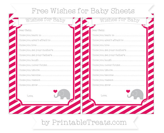 Free Ruby Pink Diagonal Striped Baby Elephant Wishes for Baby Sheets
