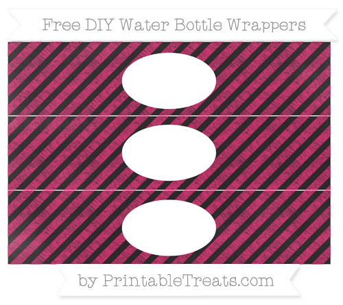 Free Ruby Pink Diagonal Striped Chalk Style DIY Water Bottle Wrappers
