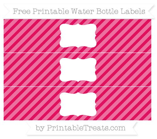 Free Ruby Pink Diagonal Striped Water Bottle Labels