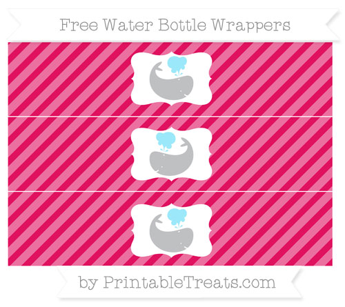 Free Ruby Pink Diagonal Striped Whale Water Bottle Wrappers