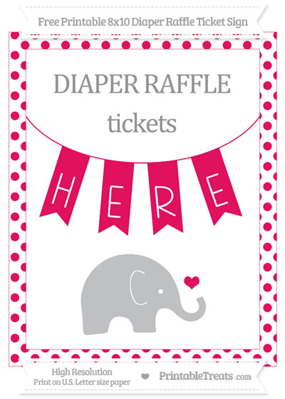 Free Ruby Pink Dotted Baby Elephant 8x10 Diaper Raffle Ticket Sign