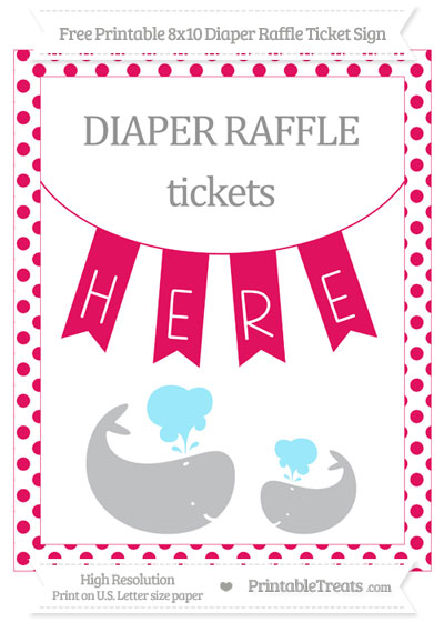 Free Ruby Pink Dotted Baby Whale 8x10 Diaper Raffle Ticket Sign