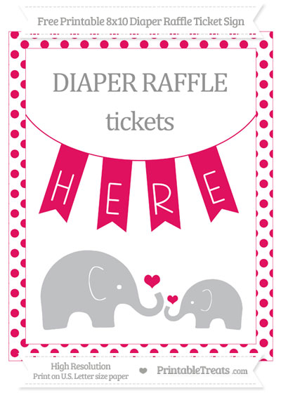 Free Ruby Pink Dotted Elephant 8x10 Diaper Raffle Ticket Sign