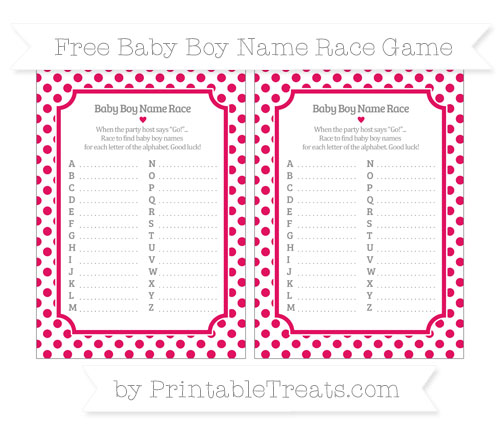 Free Ruby Pink Dotted Pattern Baby Boy Name Race Game