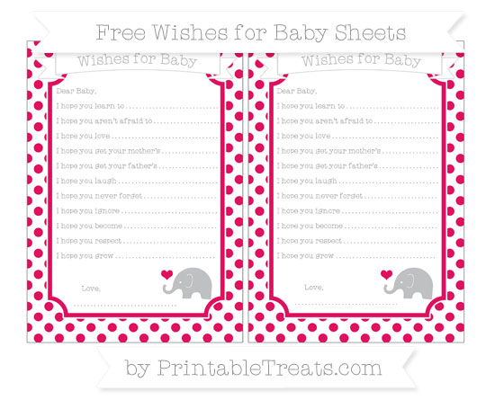 Free Ruby Pink Dotted Pattern Baby Elephant Wishes for Baby Sheets