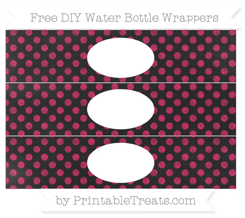 Free Ruby Pink Dotted Pattern Chalk Style DIY Water Bottle Wrappers