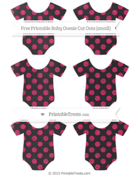 Free Ruby Pink Dotted Pattern Chalk Style Small Baby Onesie Cut Outs