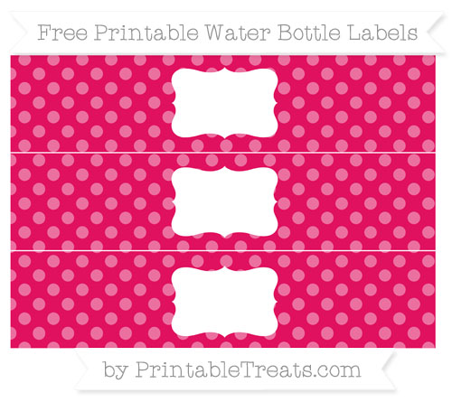 Free Ruby Pink Dotted Pattern Water Bottle Labels