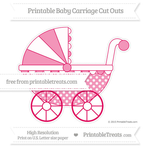 Free Ruby Pink Dotted Pattern Extra Large Baby Carriage Cut Outs