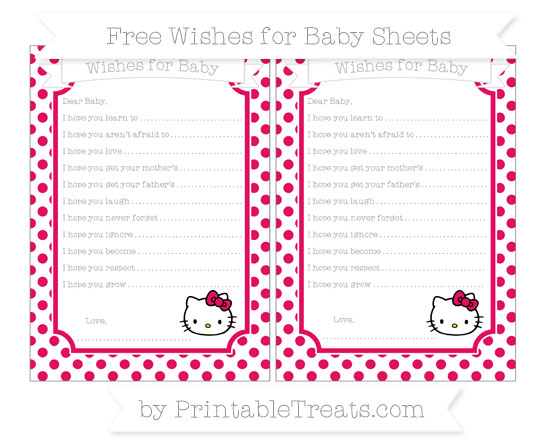 Free Ruby Pink Dotted Pattern Hello Kitty Wishes for Baby Sheets