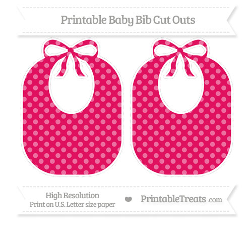Free Ruby Pink Dotted Pattern Large Baby Bib Cut Outs