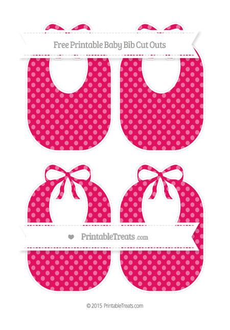Free Ruby Pink Dotted Pattern Medium Baby Bib Cut Outs