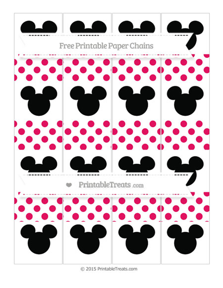 Free Ruby Pink Dotted Pattern Mickey Mouse Paper Chains