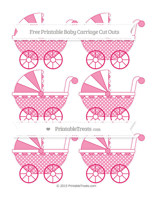 Free Ruby Pink Dotted Pattern Small Baby Carriage Cut Outs