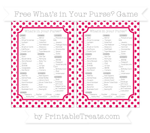 Free Ruby Pink Dotted Pattern What's in Your Purse Baby Shower Game