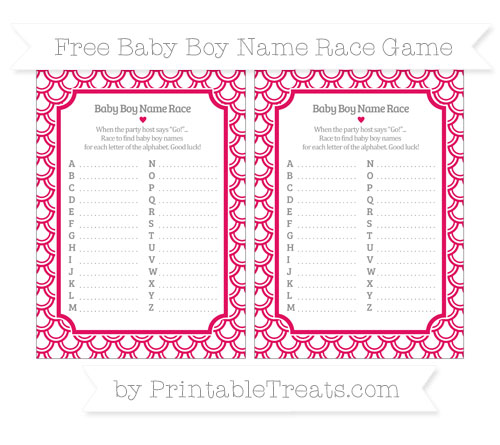 Free Ruby Pink Fish Scale Pattern Baby Boy Name Race Game
