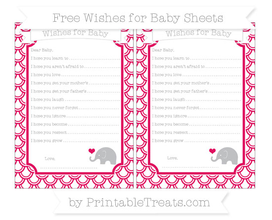 Free Ruby Pink Fish Scale Pattern Baby Elephant Wishes for Baby Sheets