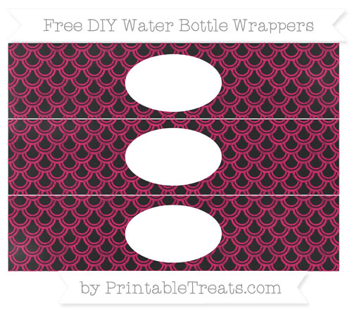Free Ruby Pink Fish Scale Pattern Chalk Style DIY Water Bottle Wrappers